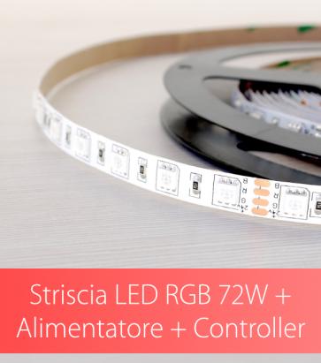 """SUPER OFFERTA: Kit completo Striscia LED RGB """"ECO"""" 72W + Alimentatore 12V + Controller RGB con Telecomando"""