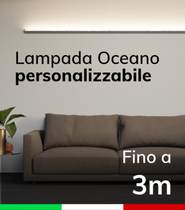 Lampada LED da parete Oceano - Da 250cm a 300cm - Personalizzabile - Dimmerabile