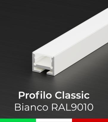 Profilo in Alluminio Piatto Design Classic per Strisce LED - Verniciato BIANCO