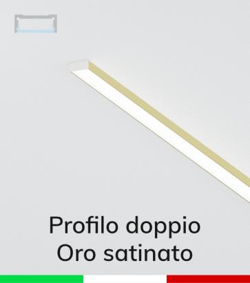Profilo in Alluminio Piatto Doppio per Strisce LED - Copertura PIATTA -  Oro Satinato