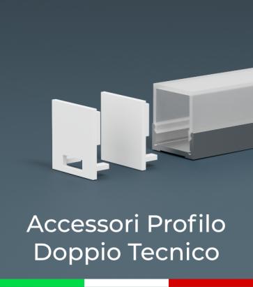 Accessori per Profilo in Alluminio Doppio con Copertura Tecnica - Tappi e Biadesivo