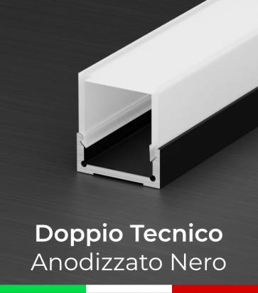 Profilo in Alluminio Piatto Doppio Strisce LED - Copertura TECNICA - Anodizzato NERO
