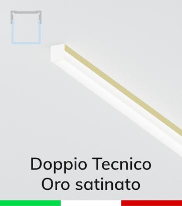 Profilo in Alluminio Piatto Doppio Strisce LED - Copertura TECNICA -  Oro Satinato