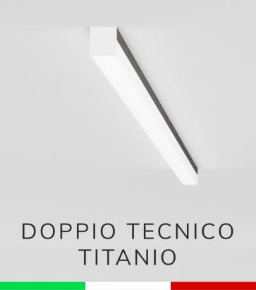 Profilo in Alluminio Piatto Doppio Strisce LED - Copertura TECNICA - Ossidato TITANIO