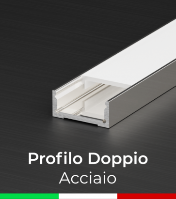 Profilo in Alluminio Piatto Doppio per Strisce LED - Copertura PIATTA - ACCIAIO Lucido