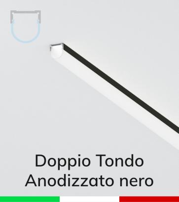 Profilo in Alluminio Piatto Doppio Strisce LED - Copertura TONDA - Anodizzato NERO