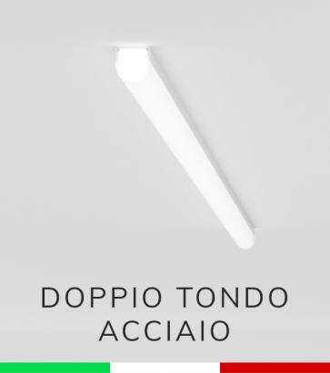 Profilo in Alluminio Piatto Doppio Strisce LED - Copertura TONDA - ACCIAIO Lucido