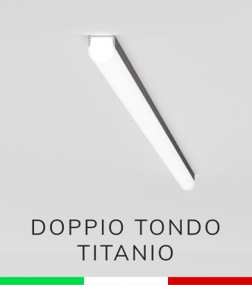 Profilo in Alluminio Piatto Doppio Strisce LED - Copertura TONDA - Ossidato TITANIO