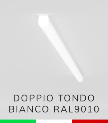 Profilo in Alluminio Piatto Doppio Strisce LED - Copertura TONDA - Verniciato BIANCO RAL9010