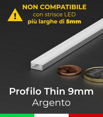 """Profilo in Alluminio """"THIN"""" per Strisce LED - Ossidato ARGENTO"""