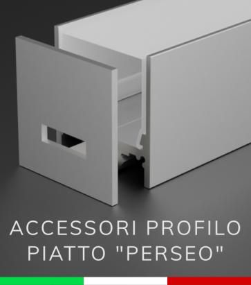 """Accessori per Profilo Piatto in Alluminio """"Perseo"""" 37x37mm"""