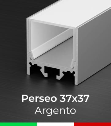 """Profilo Piatto in Alluminio """"Perseo"""" 37x37mm per Strisce LED - Anodizzato Argento"""