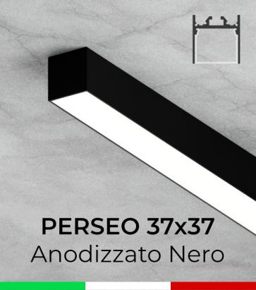 """Profilo Piatto in Alluminio """"Perseo"""" 37x37mm per Strisce LED - Anodizzato Nero"""