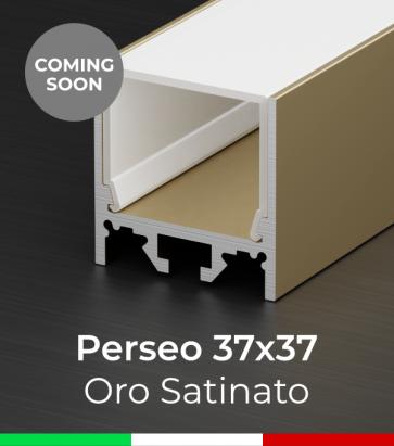 """Profilo Piatto in Alluminio """"Perseo"""" 37x37mm per Strisce LED - Oro Satinato"""