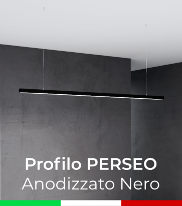 """Profilo in Alluminio da Sospensione """"Perseo"""" 37x37mm per Strisce LED - Anodizzato Nero"""