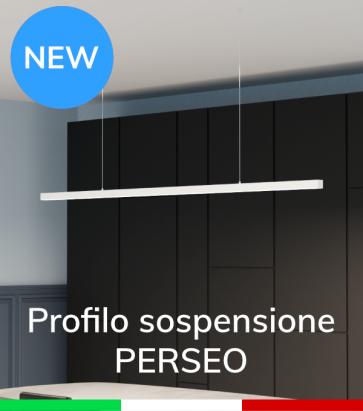 """Profilo in Alluminio da Sospensione """"Perseo"""" 37x37mm per Strisce LED - Verniciato Bianco RAL9010"""