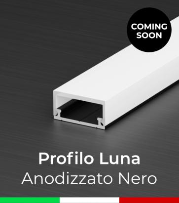 """Profilo in Alluminio Flessibile """"Luna"""" per Strisce LED - Anodizzato Nero"""