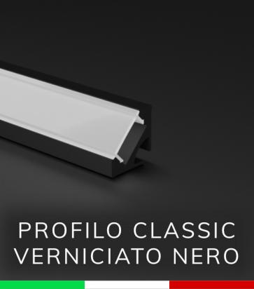 Profilo in Alluminio angolare a 45° Design Classic per Strisce LED - Nero Opaco