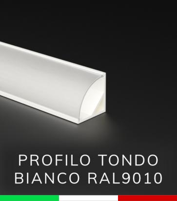 Profilo in alluminio angolare 45° Design Tondo per Strisce LED - Verniciato BIANCO