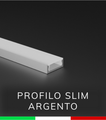 Profilo Piatto in Alluminio SLIM per Strisce LED - Argento