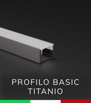 """Profilo in Alluminio """"Basic"""" Lineare per Strisce LED - Ossidato TITANIO"""