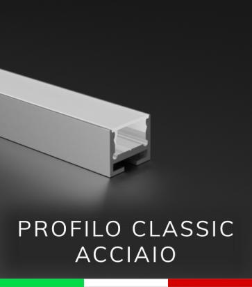 Profilo in Alluminio Piatto Design Classic per Strisce LED - ACCIAIO Lucido