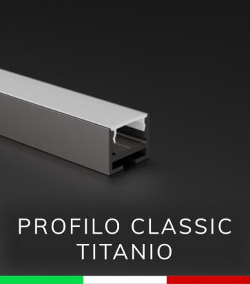 Profilo in Alluminio Piatto Design Classic per Strisce LED - Ossidato TITANIO