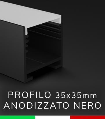 SUPER OFFERTA FINE SCORTE: Profilo Lineare in Alluminio 35x35mm per Strisce LED - Anodizzato Nero - 2 metri - Copertura Opale