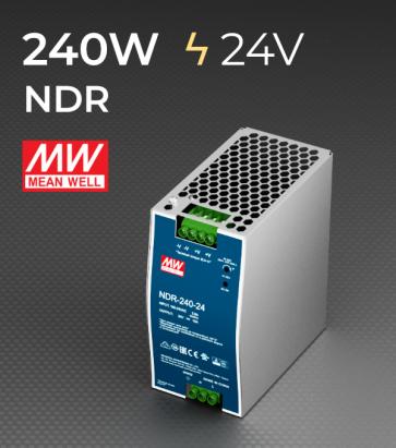 Alimentatore Meanwell NDR-240-24 Industriale Output Singolo - 240W - Barra DIN