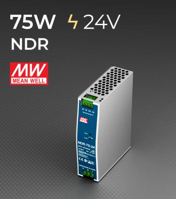 Alimentatore Meanwell NDR-75-24 Industriale Output Singolo - 75W - Barra DIN