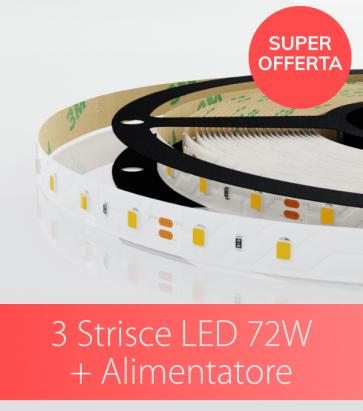 """SUPER OFFERTA: 3 Strisce LED 2835 """"ECO"""" - 72W - BIANCO NATURALE 60 LED/m con ALIMENTATORE IN OMAGGIO!"""