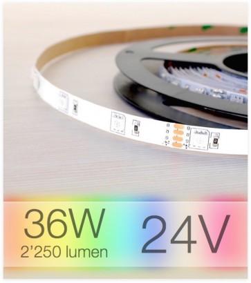 "SUPER OFFERTA Striscia LED RGB ""ECO"" - 5 Metri - 36W - SMD5050 IP20/IP65"