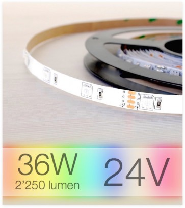 "Striscia LED 24v RGB ""ECO"" - 5 Metri - 36W - SMD5050 -per Cornici Eleni"