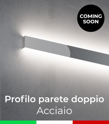 """Profilo in Alluminio """"Parete Doppio"""" per Strisce LED - Acciaio Lucido"""