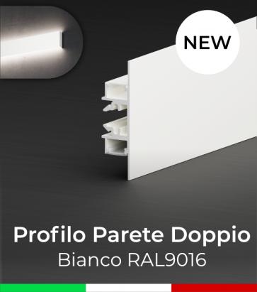 """Profilo in Alluminio """"Parete Doppio"""" per Strisce LED - Verniciato Bianco RAL9016"""