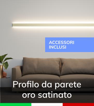 """Profilo in Alluminio Da Parete """"Flat"""" per Strisce LED -  Oro Satinato - KIT DI MONTAGGIO E TAPPI COMPRESI"""