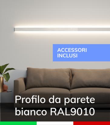 """Profilo in Alluminio Da Parete """"Flat"""" per Strisce LED - ACCIAIO Lucido - KIT DI MONTAGGIO E TAPPI COMPRESI!"""