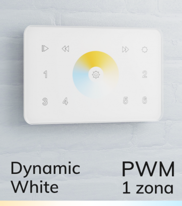 Controller Bianco Dinamico Touch da Parete PWM 20 Amp - per strisce LED - Bianco o Nero