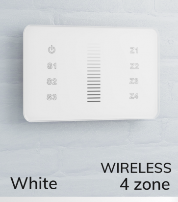 Dimmer Touch da Parete a 4 Zone Wireless - Per strisce LED - Bianco o Nero