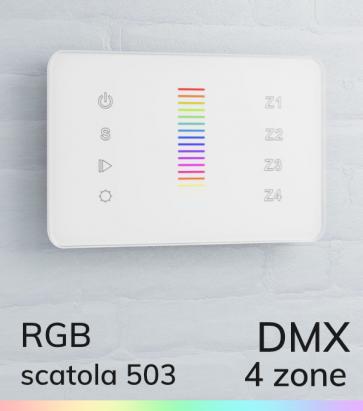 Controller RGB Slider Touch da Parete  a 4 Zone DMX - per strisce LED - Bianco o Nero