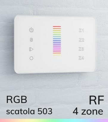 Controller RGB Slider Touch da Parete  a 4 Zone - per strisce LED - Bianco o Nero