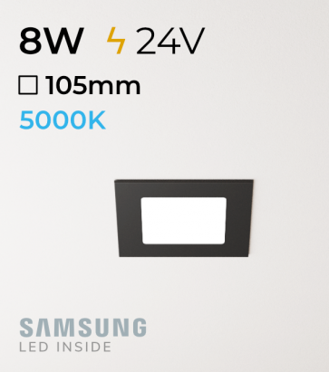 Faretto da Incasso Quadrato Slim Nero 8W BIANCO FREDDO - LED Samsung