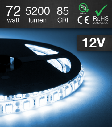 "Striscia LED ""ECO"" - 5 Metri - 72W - SMD5050 BIANCO-BLU GHIACCIO"