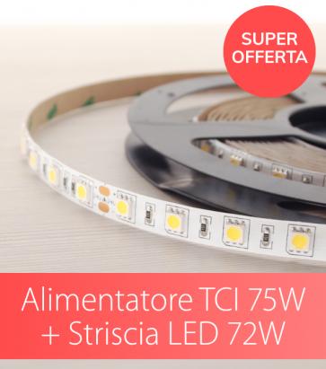 "SUPER OFFERTA TCI - Alimentatore TCI 75W Made in Italy + Striscia LED 5050 ""PRO"" - 5 Metri - 72W - BIANCO CALDO / NATURALE / FREDDO"