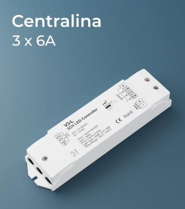 Centralina Ricevente 3 canali x 6A - Funzione dimmer, RGB, e Bianco Dinamico