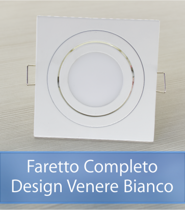 Faretto completo Bianco con PCB 11W - Design VENERE - Dimmerabile - Made In Italy
