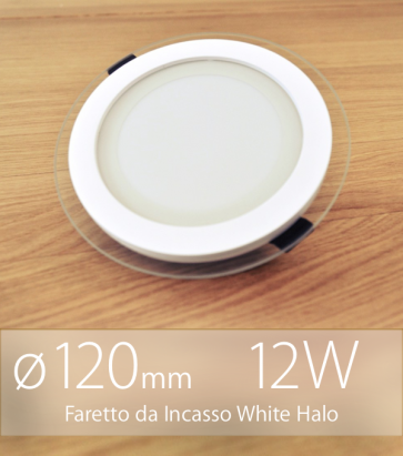 """FINE SCORTE - Faretto da Incasso Tondo """"White Halo"""" 12W BIANCO NATURALE (Lampada Downlight)"""