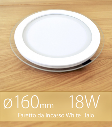 """FINE SCORTE - Faretto da Incasso Tondo """"White Halo"""" 18W BIANCO CALDO (Lampada Downlight)"""