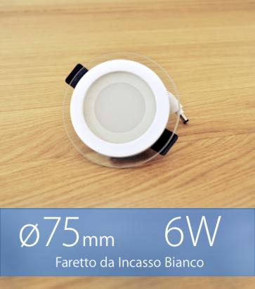 """Faretto da Incasso Tondo """"White Halo"""" 6W BIANCO FREDDO (Lampada Downlight)"""
