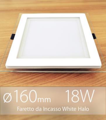 """Faretto da Incasso Quadrato """"White Halo"""" 18W BIANCO NATURALE (Lampada Downlight)"""
